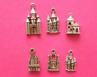 The Castle Collection - 6 different  antique silver tone charms