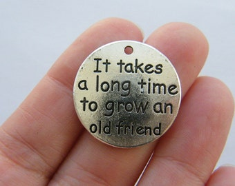 BULK 10 It takes a long time to grow an old friend charms antique silver tone M727