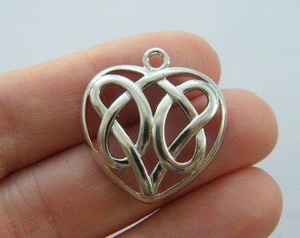2 Celtic knot heart charms antique silver tone R103