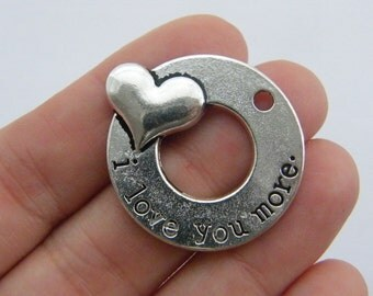 2 I love you more charms antique silver tone M746