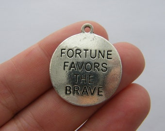2 Fortune favors the brave charms antique silver tone BOX3
