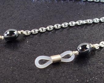 Gunmetal black oval Hemalyke beads and Silver Chain Eyeglass Lanyard
