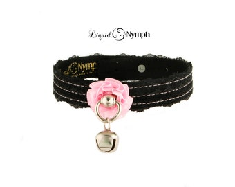 Kitty Collar Bell with Black Lace & Leather Pink Rose Locking Day Collar - BDSM Discreet Day Collar, DDLG and Kitten Pet Play Valentine Gift