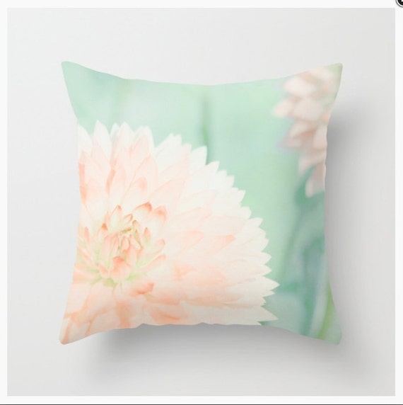 Peach Decorative Throw Pillows : THROW PILLOW Peach Dahlias mint and peach home decor