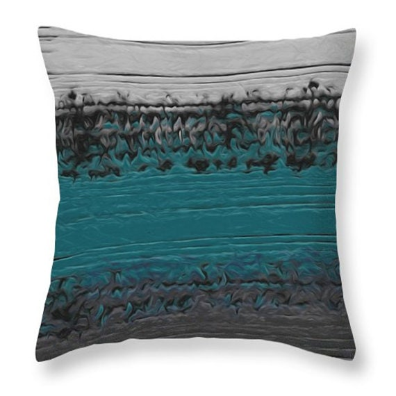 Modern Teal Decorative Throw Pillow : Decorative Pillow teal and gray contemporary abstract