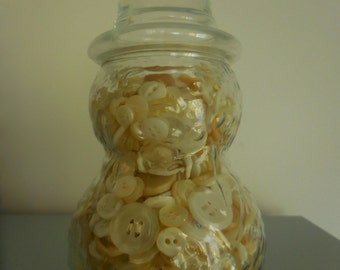 Snowman Glass Jar with vintage White Buttons