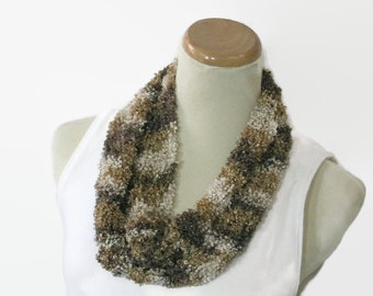 Brown Scarf, Hand Knit Scarf, Mother's Day Scarf, Circle Scarf, Cowl, Gift Idea For Her, Spring Scarf, Knit Cowl, Loop Scarf, Fashion Cowl