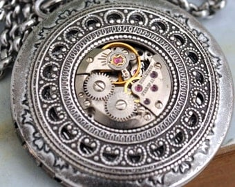 silver steampunk locket necklace TIME TRAVELER antique silver steampunk vintage jeweled watch movement locket necklace with steel chain