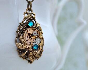 steampunk necklace - DARK VICTORIAN - vintage Hamilton 17 jeweled watch movement and blue zircon glass jewel