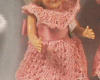 Knitting pattern for Rosebud twin dolls or other 6.5 inch tall baby dolls IMMEDIATE downloadPDF