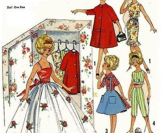 Sewing PATTERN - Doll's clothing, Outfits vintage - Tressy Tammy Barbie 11.5 inch Fashion doll Wardrobe of Clothes including closet