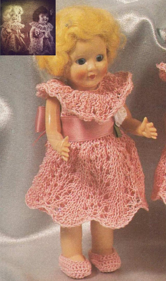 Knitting pattern for Rosebud twin dolls or other 6.5 inch tall