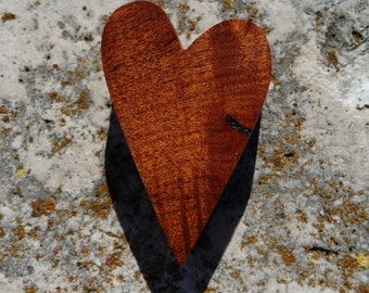 Lovely Texas Honey Mesquite burl wood heart magnet OOAK cut