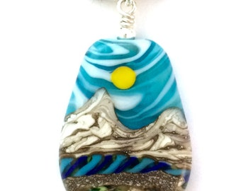 Necklace: Handmade Lampwork Desert Sun Mountain River Landscape Focal Bead on Cotton w .925 Sterling Silver Findings