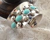 Gypsy bracelet, Women's cuff bracelet, Faux turquoise, wide cuff, Music festival bonnaroo boho chic, women's jewelry, True Rebel clothing