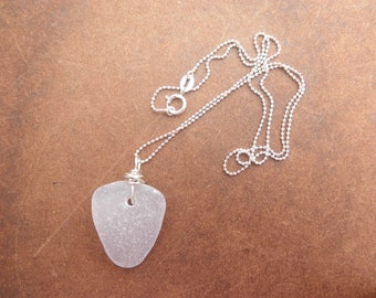 Washington State Wrapped Necklace Light Lavender Sea Glass