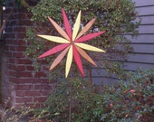Starburst on 3 ft. Metal Stake for Garden & Planter Boxes / Pots - Colorful Outdoor Decor handcrafted by Laughing Creek