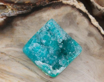 Beautiful Blue Silica Chrysocolla Covered with Quartz Drusy Cabochon