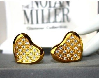 SALE Vintage Nolan Miller Rhinestone Heart Earrings
