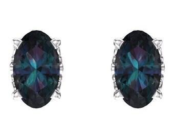 14kt White Gold Gem Quality Faceted Alexandrite Oval Studs & June Birthstone Earrings, Gemstone Earrings, Gold Ear Studs