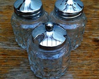 Vintage Trio Condiment Set - Salt, Pepper and Mustard