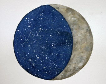 Moon and sky original watercolor, crescent moon, stars, round, planet, blue and grey, night, splatter, blue and white