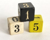 Vintage Numbered Wooden Dice , Wood Game Die
