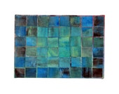 Textile Art Painting / Modern Art Patchwork Painting / Green Blue Wall Art Original