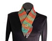 Cotton Chenille Scarf / Button Scarflet / Knit Neckwarmer / Southwest Colors Scarf