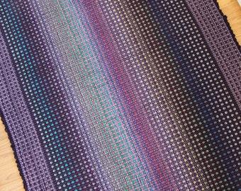 Cotton Rag Rug in Dusty Lavender and Purple / 3' x 5'  Handmade Kitchen Rug