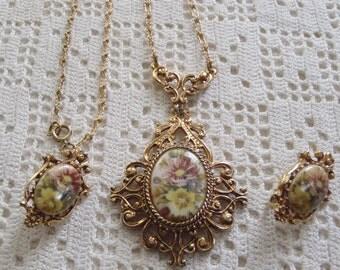 Vintage Florenza Necklace and Earring Demi-Parure Set Floral Design