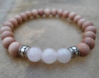 Rosewood Rose Quartz Mala Bracelet  Love Mala  Heart Chakra Bracelet Love Compassion Mercy Mala Beads Mens Mala Woman's Mala Yoga Stack Pink