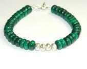 Large Green Malachite Bracelet - Beaded Gemstone Bracelet - Metallic Pyrite - Natural Stone