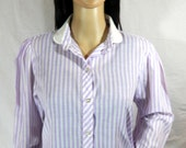 1960's STRIPED SCHOOLGIRL BLOUSE by Oakhill Lavender & White size medium