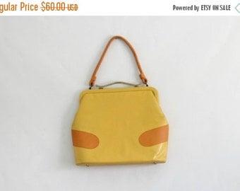Vintage 1960s Purse Mod Handbag Yellow Leather Purse Top Handle Bag Mad Men Purse Shoulder Strap Purse Womens Yellow Purse