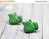 SALE Green Hippo Earrings, Medium Green Hippopotamus Earrings, Cute Jewelry, Adorable Animal Jewelry, Hungry Hippo Jewelry, Vegan Jewelry