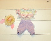 Mauve Velour Pants and Patterned Tshirt - 12 inch doll clothes