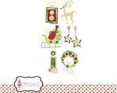 Modern christmas machine embroidery design set,  two sizes. Fun whimsical embroidery for Christmas. Christmas embroidery.