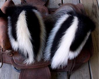 Skunk fur mittens with red fleece liner handmade X-large