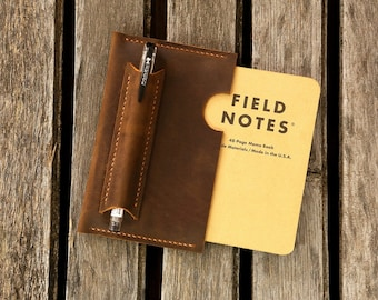 Leather sleeve for Field notes pocket size / distressed leather field notes case / Minimalist field notes sleeve cover FA605SV