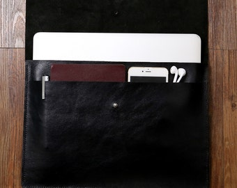"ALL BLACK handmade leather macbook sleeve case for new macbook 12 "" / macbook air 11 "" 13 "" / macbook pro retina cover bag MACX09D"