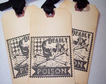 Halloween Deadly Poison Tags set of 3