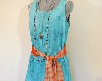 "Aqua Sz 10 Medium Cotton DRESS - Blue Green Dyed Upcycled American Eagle Jumper Sun Dress - Adult Women's Size 10 Medium (38"" Chest)"