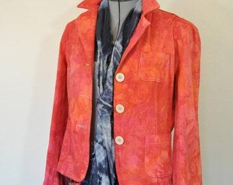 Red Orange Jrs XL Cotton JACKET - Fire Dyed Upcycled No Boundaries Cotton Blazer Jacket - Adult Women Sz 15 Juniors Extra Large (38 chest)