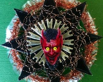 Creepy Vintage Look Victorian Halloween Ormament-Vintage German Scrap Krampas or Devil ,Tinsel, German, Spun Glass