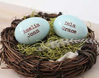 Mothers Nest, 2 personalized name eggs in nest, gift for mom, for grandma, for Mothers day