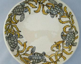 Sea Turtles swimming in Sargasso Seaweed Serving Bowl
