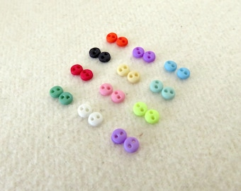 24 pcs Teeny Tiny 4mm Round Buttons - Doll Clothing, Blythe
