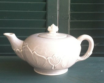 Charming Gray China Teapot with Emblishments