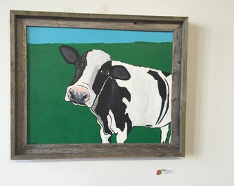 Cow orignal arylic painting, Farm animals, wall art, Framed ready to hang. gift. Love animals